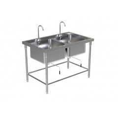 DOUBLE SINK TABLE W/FAUCET 1
