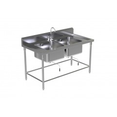 DOUBLE SINK TABLE W/FAUCET 5