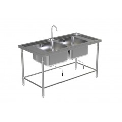 DOUBLE SINK TABLE W/FAUCET 2