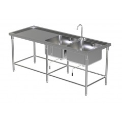 DOUBLE SINK TABLE W/FAUCET 3