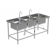 Triple Sink Table W/2 Faucet 1