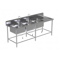Triple Sink Table W/2 Faucet 5