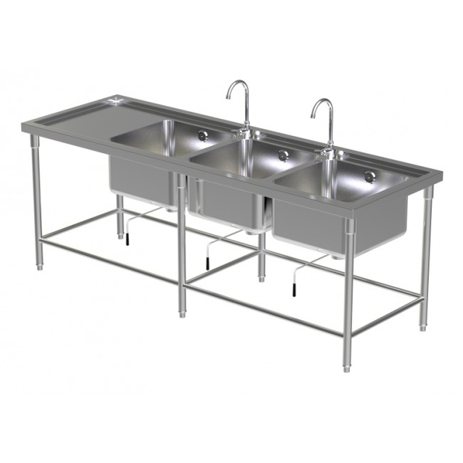 Triple Sink Table W/2 Faucet 6