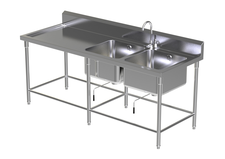 DOUBLE SINK TABLE W/FAUCET 6
