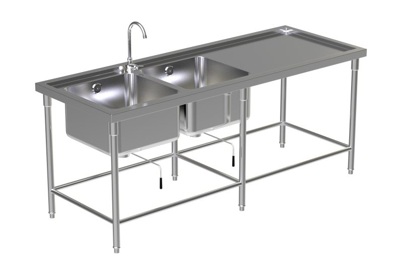 DOUBLE SINK TABLE W/FAUCET 7