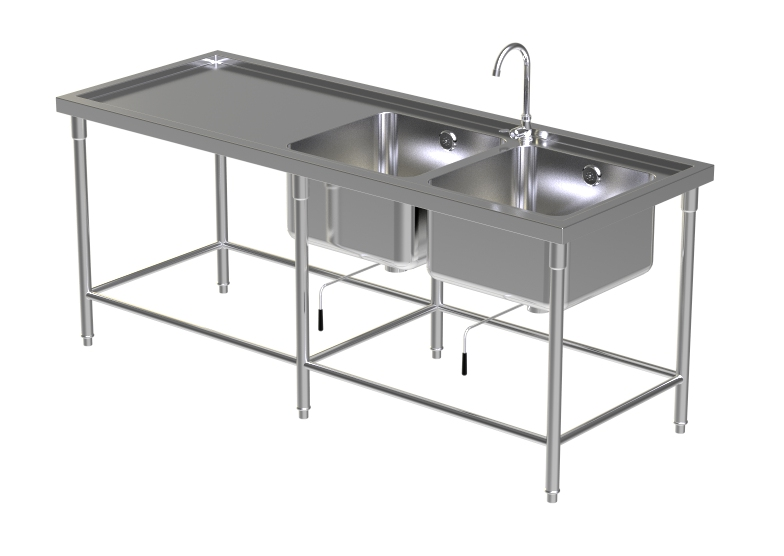 DOUBLE SINK TABLE W/FAUCET 8