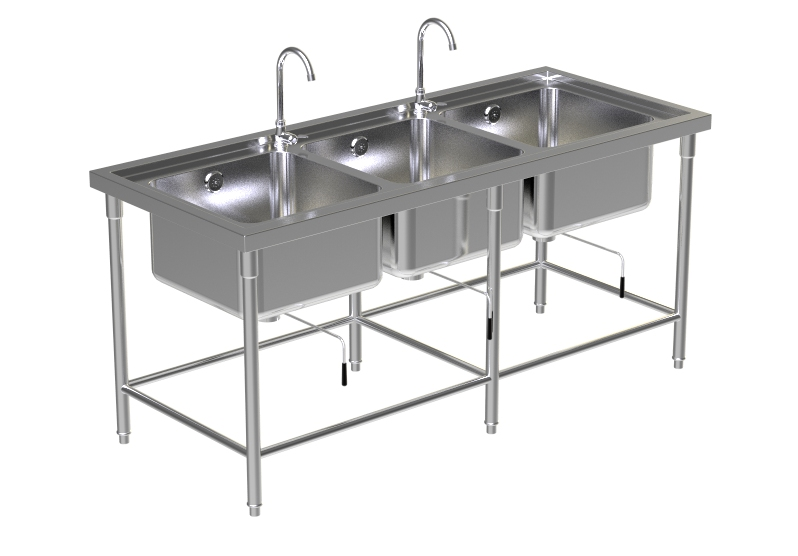 Triple Sink Table W/2 Faucet 3