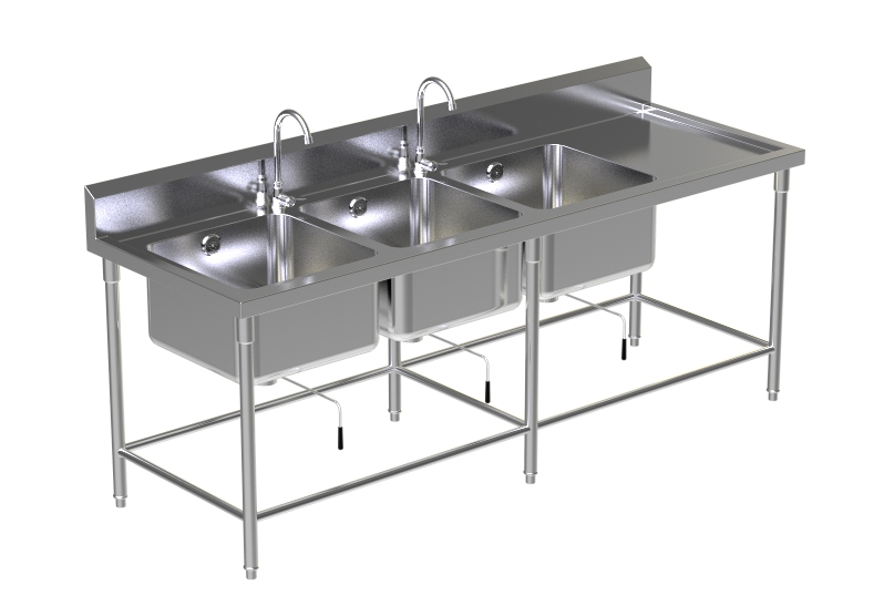 Triple Sink Table W/2 Faucet 2