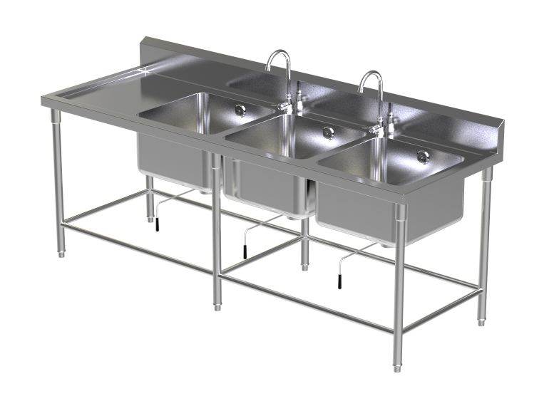 Triple Sink Table W/2 Faucet 4